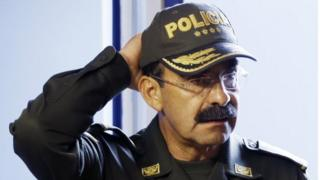 File photo from 4 August 2015 of Colombia's Police Chief Gen. Rodolfo Palomino