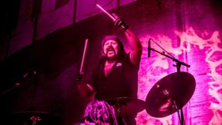 Vinnie Paul (from Pantera) of American heavy metal supergroup Hellyeah opens the concert of American nu metal band Korn on March 12