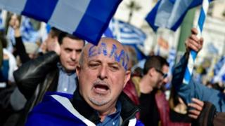 Greek protesting about the name Macedonia in Athens 4 February 2018