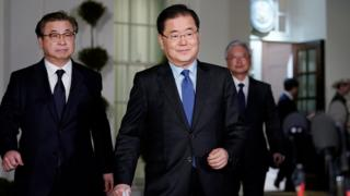 South Korean National Security Adviser Chung Eui-yong (centre) made the announcement at the White House