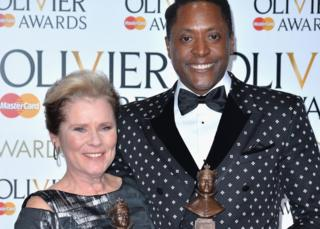 """Imelda Staunton (L), winner of the Best Actress in a Musical award for """"Gypsy"""", and Matt Henry, winner of the Best Actor in a Musical for """"Kinky Boots"""","""