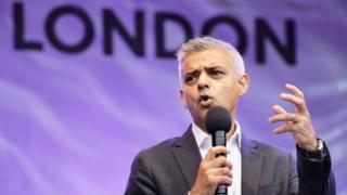 Sadiq Khan addressing a crowd