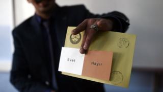 大統領権限の拡大を問う国民投票の投票用紙には、「はい」と「いいえ」の選択肢のみ(16日、イスタンブール)