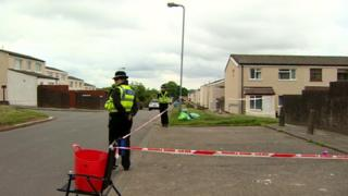 Police at the scene of the stabbing on Bryn Fedw