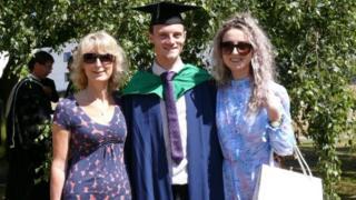 sports Matt Bone (centre) with family