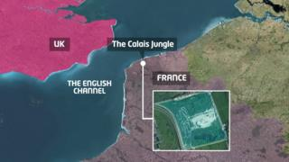 Map showing where the Calais Jungle is