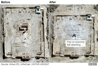 Satellite image of Palmyra showing destruction of the Temple of Bel