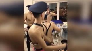 Screen grab from video showing air cadets in Russia dancing in their underwear