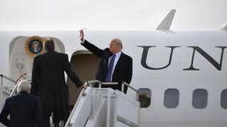 Donald Trump en el Air Force One