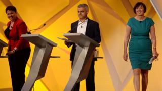 (L to R) Ruth Davidson, Sadiq Khan, Frances O'Grady