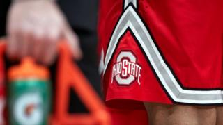 Ohio State University logo on a pair of basketball short