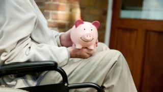 Patient with piggy bank
