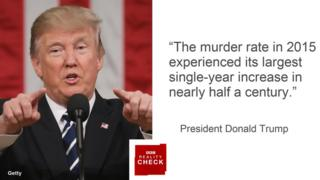 Donald Trump saying: The murder rate in 2015 experienced its largest single-year increase in nearly half a century.
