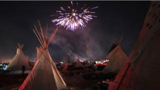 Fireworks in Oceti Sakowin camp.
