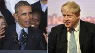 Composite image of Barack Obama and Boris Johnson
