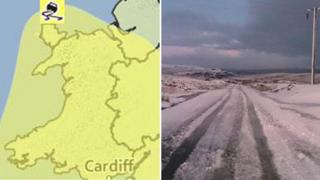 Map of Wales predicting snow ice and an icy road