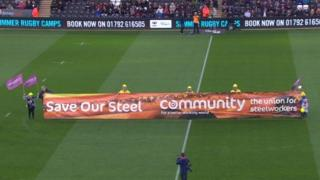 Steelworkers at the Ospreys game