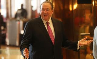 Arkansas Governor Mike Huckabee arrives at Trump Tower on November 18, 2016 in New York City