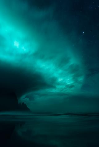 Northern lights across the sky in Iceland.