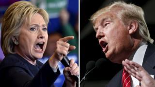 民主党でトップを走るクリントン前国務長官(左)と共和党の最有力候補のトランプ氏
