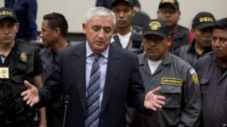 Former Guatemalan President Otto Perez Molina after second court hearing, 4 Sep 15