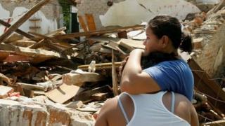 Casa destruida en Unión Hidalgo.