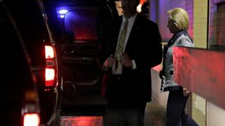 Hillary Clinton departs after a meeting with Bernie Sanders