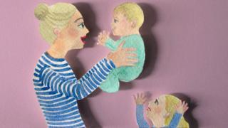 Illustration of Cherry Healey and her two children