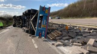 A120 lorry overturned