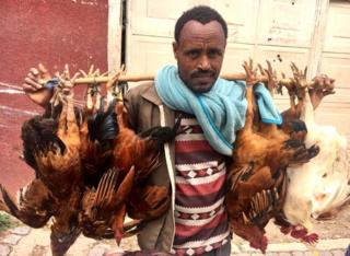 Man holding chickens