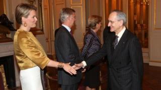 Princess Mathilde meets Spanish Ambassador Ignacio Jesus Matellanes Martinez in January 2013