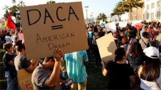 DACA supporters at a protest rally in San Diego, California, on September 5, 2017