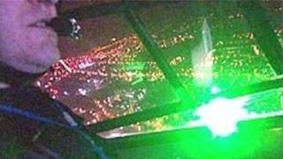 Pilot in aircraft cockpit under attack from laser pen