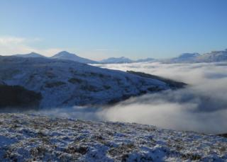 Glen Ogle looking West to the Strathfillan hills.