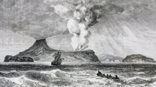 Ilustrasi abad 19 akan letusan Gunung Api Perbuatan di Pulau Krakatau, Agustus 1883.