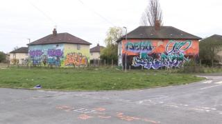 Graffiti on houses