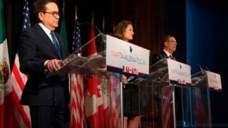Mexico's Minister of Economy Ildefonso Guajardo (L), Canadian Foreign Affairs minister Chrystia Freeland (C), and US Trade Representative Robert Lighthizer address the press at the closing of the NAFTA meetings in Montreal, Quebec on January 29, 2018.