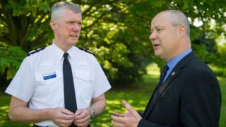 Northants chief constable Simon Edens with Stephen Mold