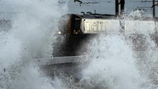 Train caught in storm