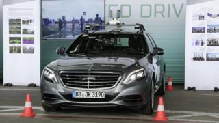 S-Class research car is used for multimodal recording and data collection of traffic scenes with camera and lidar technology.
