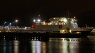 Ben-my-Chree in Douglas Harbour at night