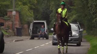 Alison on a horse on the road
