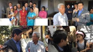 中国驻印使馆人员探访滞留印度老兵王琪一家人