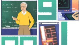 Doodle do Google homenageando Dertouzos: um professor de cabelos brancos, com um giz na mão, em frente a um quadro escolar