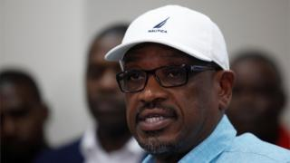 Bahamas Prime Minister Hubert Minnis addresses a press conference after Hurricane Dorian finally moved away from the island nation