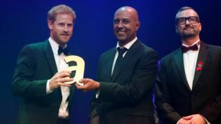 Prince Harry receives a posthumous Attitude Legacy Award on behalf of his mother Diana