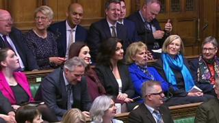 Heidi Allen (fourth from right), Anna Soubry and Sarah Wollaston (l-r) appear in Parliament with the Independent Group