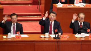 China's former leader, Hu Jintao, Chinese President Xi Jinping and China's former president Jiang Zemin