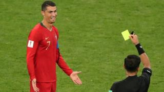 Ronaldo being given yellow card