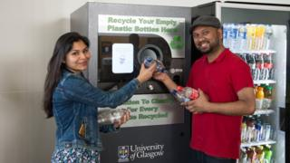 Students try out the new Reverse Vending Machine